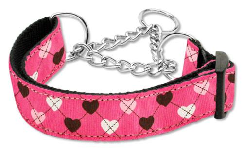 Argyle Hearts Nylon Ribbon Collar Martingale Bright Pink Large