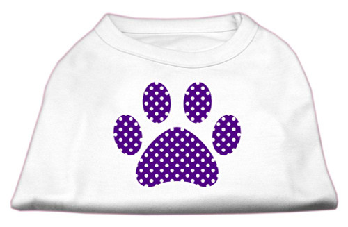 Purple Swiss Dot Paw Screen Print Shirt White S (10)