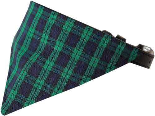 Green Plaid Bandana Pet Collar Black Size 14