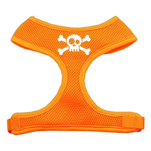 Skull Crossbones Screen Print Soft Mesh Harness Orange Extra Large