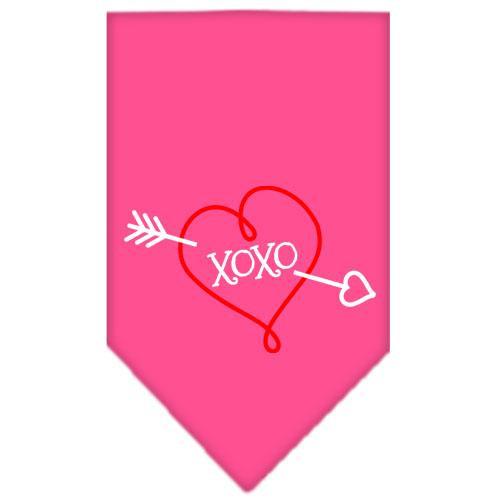 Xoxo Screen Print Bandana Bright Pink Small