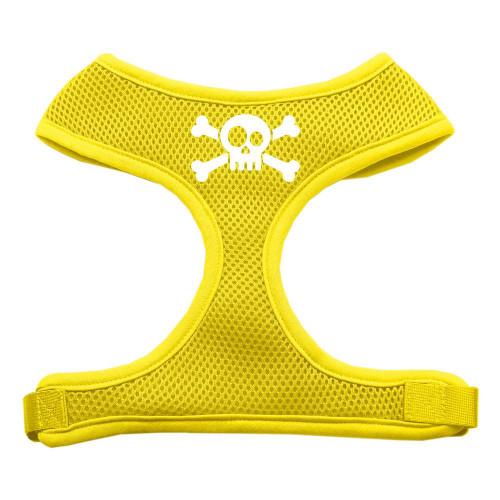 Skull Crossbones Screen Print Soft Mesh Harness Yellow Extra Large