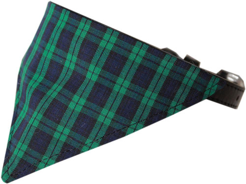 Green Plaid Bandana Pet Collar Black Size 20