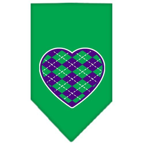 Argyle Heart Purple Screen Print Bandana Emerald Green Small
