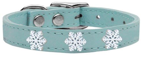Snowflake Widget Genuine Leather Dog Collar Baby Blue 14