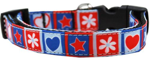 Stars And Hearts Nylon Dog Collar Xs