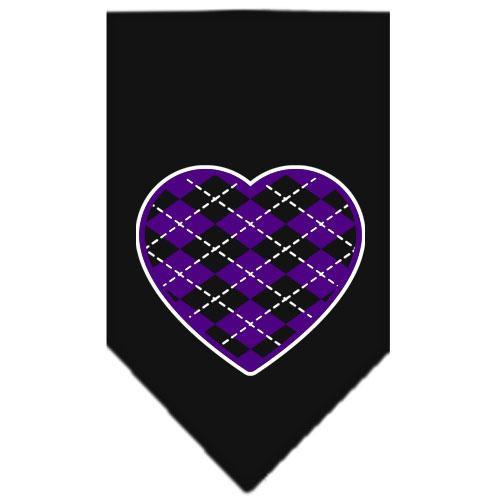 Argyle Heart Purple Screen Print Bandana Black Small