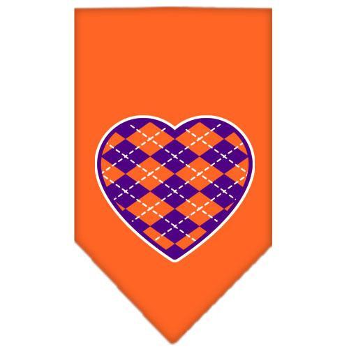 Argyle Heart Purple Screen Print Bandana Orange Small