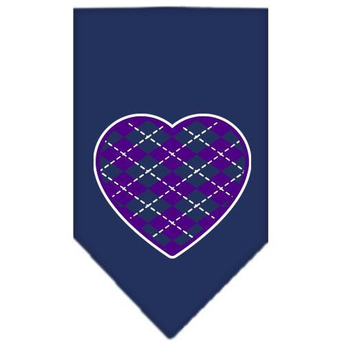 Argyle Heart Purple Screen Print Bandana Navy Blue Small