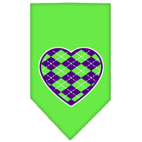 Argyle Heart Purple Screen Print Bandana Lime Green Small
