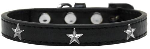 Silver Star Widget Dog Collar Black Size 16
