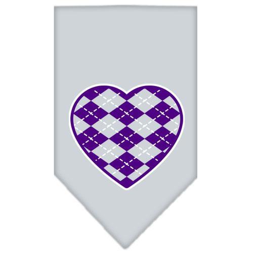 Argyle Heart Purple Screen Print Bandana Grey Small