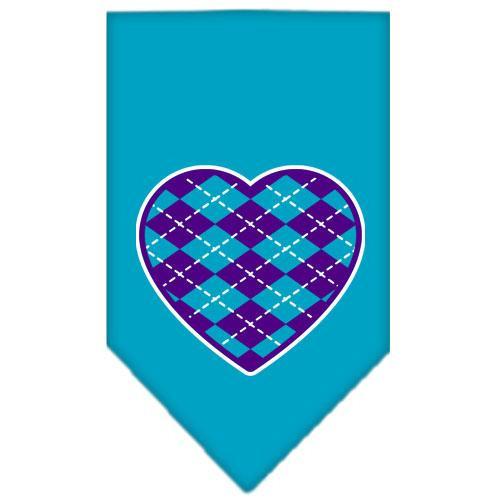 Argyle Heart Purple Screen Print Bandana Turquoise Small