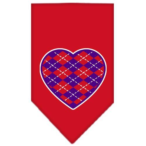 Argyle Heart Purple Screen Print Bandana Red Small
