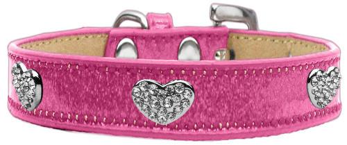 Crystal Heart Dog Collar Pink Ice Cream Size 16