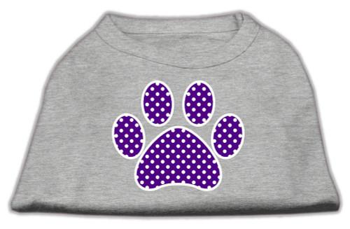 Purple Swiss Dot Paw Screen Print Shirt Grey Sm (10)