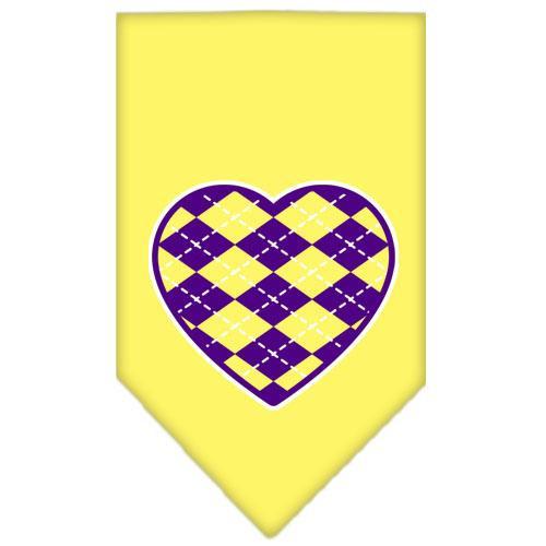 Argyle Heart Purple Screen Print Bandana Yellow Small