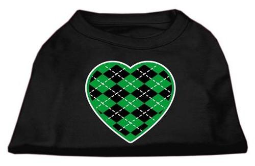 Argyle Heart Green Screen Print Shirt Black Xs (8)