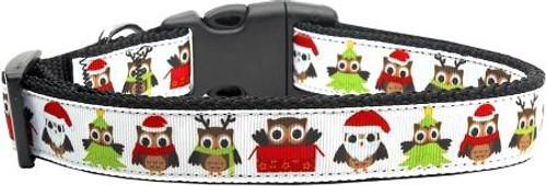 Santa Owls Ribbon Dog Collars Large
