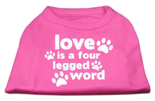 Love Is A Four Leg Word Screen Print Shirt Bright Pink Xs (8)