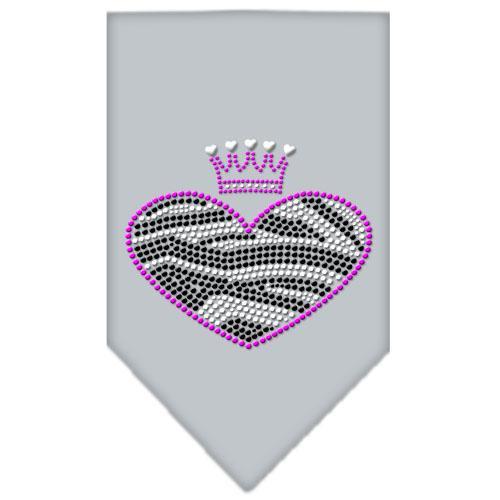 Zebra Heart Rhinestone Bandana Grey Large