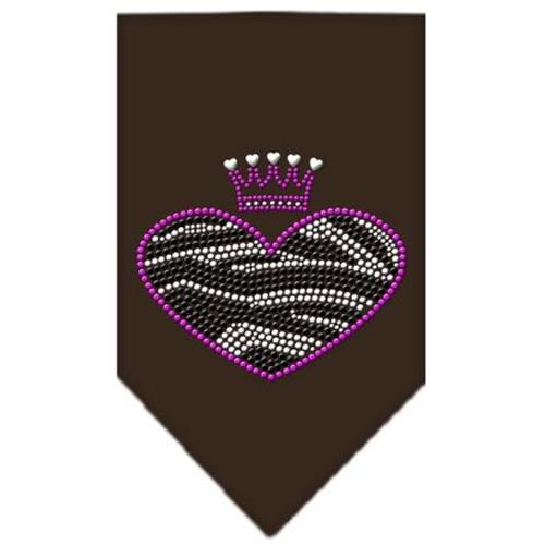 Zebra Heart Rhinestone Bandana Brown Large