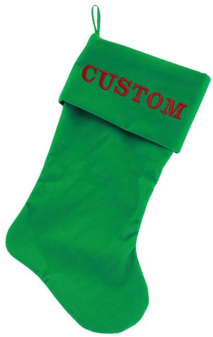 Custom Embroidered Velvet 18 Inch Made In The Usa Christmas Stocking Green
