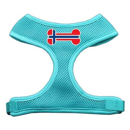 Bone Flag Norway Screen Print Soft Mesh Harness Aqua Extra Large