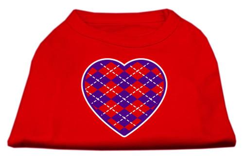 Argyle Heart Purple Screen Print Shirt Red Xxxl (20)