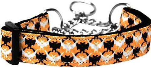 Bat Argyle Nylon Dog Collar Medium Martingale