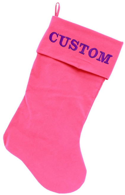 Custom Embroidered Velvet 18 Inch Made In The Usa Christmas Stocking Pink