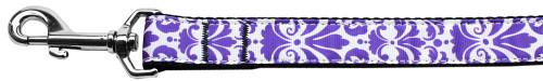 Damask Nylon Dog Leash 4 Foot Purple