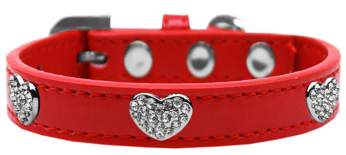 Crystal Heart Dog Collar Red Size 14