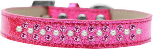 Sprinkles Ice Cream Dog Collar Pearl And Bright Pink Crystals Size 12 Pink