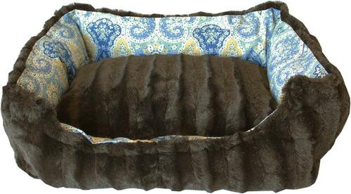 Reversible Bumper Dog Bed Bohemian Blues Xs