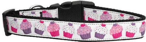 Pink And Purple Cupcakes Dog Collar Large