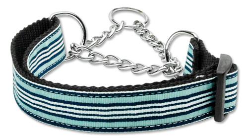 Preppy Stripes Nylon Ribbon Collars Martingale Light Blue/white Large