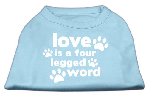 Love Is A Four Leg Word Screen Print Shirt Baby Blue Xs (8)