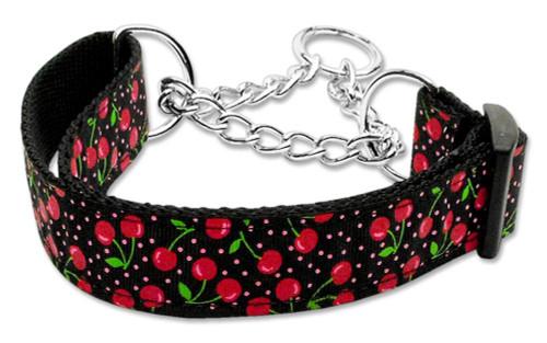 Cherries Nylon Collar Martingale Black  Large