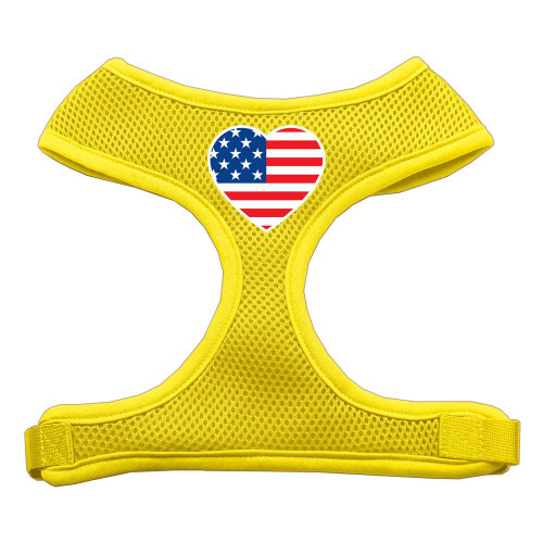 Heart Flag Usa Screen Print Soft Mesh Harness Yellow Extra Large
