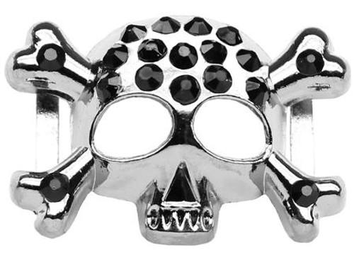 """3/4"""" (18mm) Slider Skull Charm  Black"""