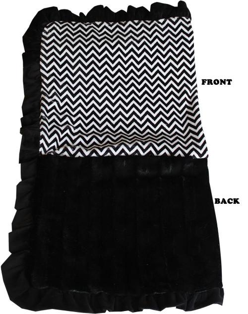 Luxurious Plush Pet Blanket Black Chevron 1/2 Size