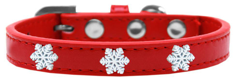 Snowflake Widget Dog Collar Red Size 12