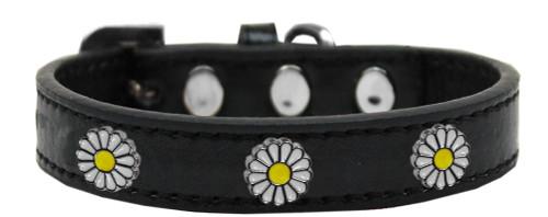 White Daisy Widget Dog Collar Black Size 14