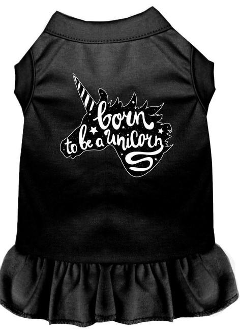 Born To Be A Unicorn Screen Print Dog Dress Black 4x (22)