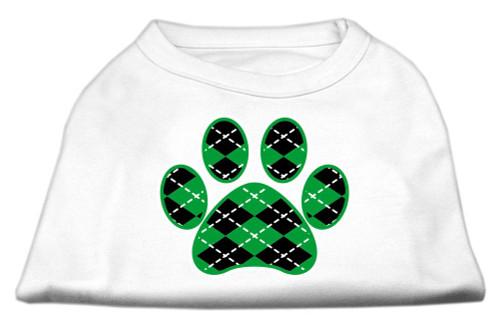 Argyle Paw Green Screen Print Shirt White M (12)