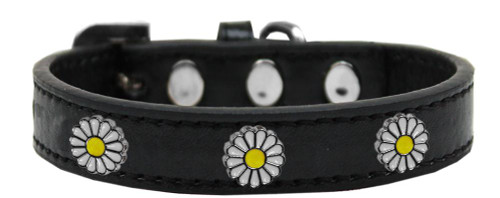 White Daisy Widget Dog Collar Black Size 20