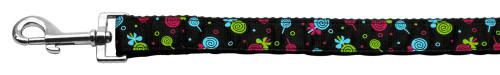 Lollipops Nylon Ribbon Leash Black 1 Inch Wide 4ft Long