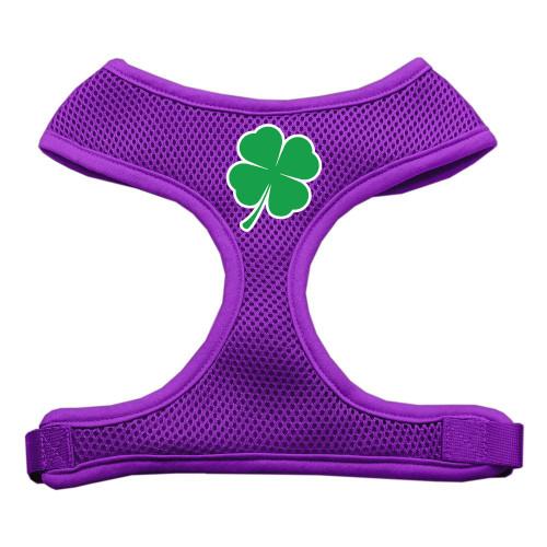 Shamrock Screen Print Soft Mesh Harness Purple Medium
