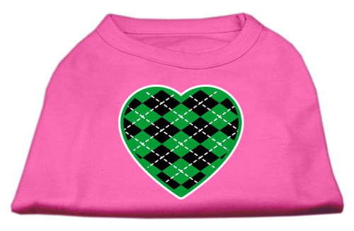 Argyle Heart Green Screen Print Shirt Bright Pink Sm (10)